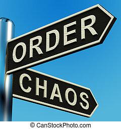 direcciones, poste indicador, orden, caos, o