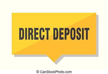 direct deposit price tag - direct deposit yellow square...