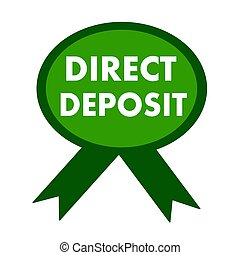direct deposit white wording on background green ribbon