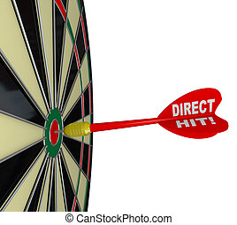 Direct Hit - Successful Bulls-Eye on Dart Board - A dart...
