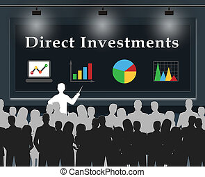 Direct Investments Means Stocks And Shares 3d Illustration