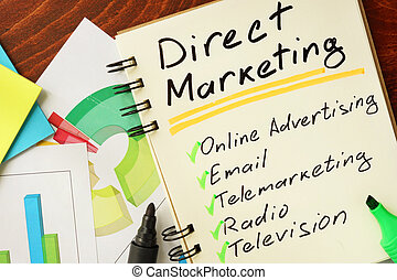 Direct marketing - Notepad with direct marketing on the...