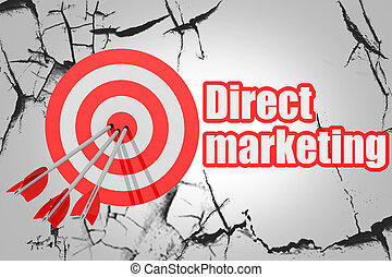 Direct marketing word with red arrow and board
