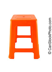 Direct orange plastic rectangle chair on white background.