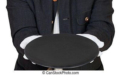 direct view of empty black plate in hand in gloves