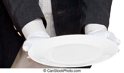 direct view of empty white plate in hand in gloves