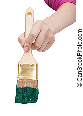 direct view of painter hand with green paintbrush