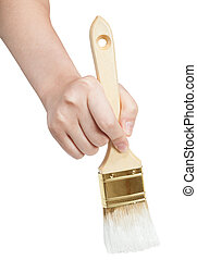 direct view of painter hand with white paintbrush