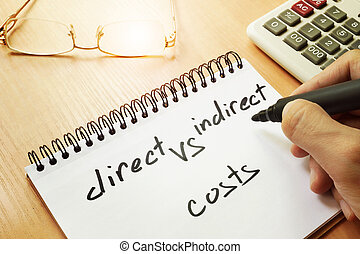 Direct vs indirect costs written by hand. - Direct vs...
