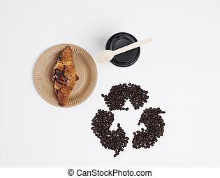 directamente, café, croissant, sobre, vista