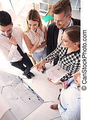 directamente, reunión, sobre, empresa / negocio