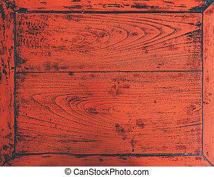 directamente, vista, viejo, escritorio, sobre, de madera