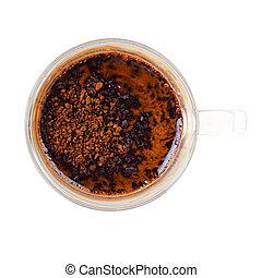 directe koffie, in, een, glas, kop, met, heet water, isoleren, op wit, achtergrond
