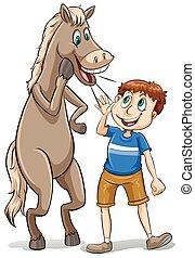 directement, bouche, cheval