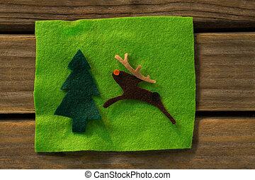 directement, renne, arbre, au-dessus, décoration noël, coup