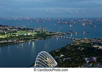 directement, singapour, vue, oeil, oiseaux