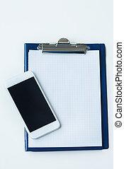 directement, smartphone, presse-papiers, au-dessus