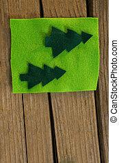 directement, vert, au-dessus, décoration noël, coup