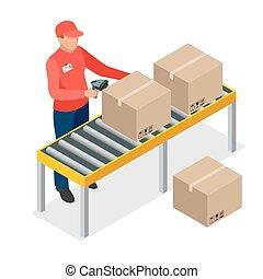 directeur, 3d, barre, vérification, vecteur, stockage, marchandises, isométrique, scanner, étagères., ouvrier, code, entrepôt, job., plat, illustration., ou, prenant action