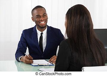 directeur, aanvrager, mannelijke , het interviewen, vrouwlijk