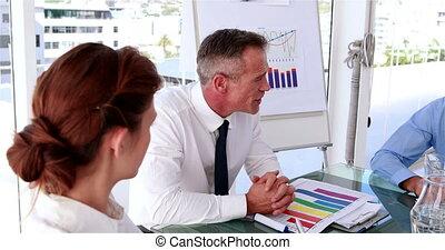 directeur, affaires conversation, personnel