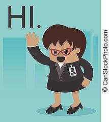directeur, affaires femme, illustration