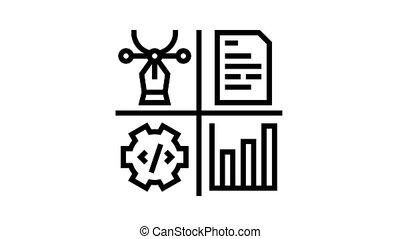 directeur, analytics, métier, contenu, icône, animation, ligne, conception, programmation