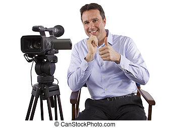 directeur, appareil photo, coulage