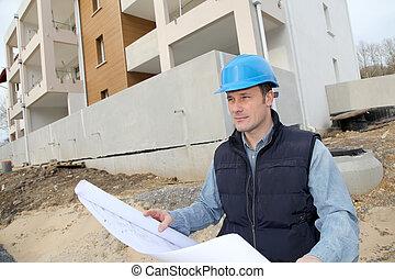 directeur bâtiment, site construction