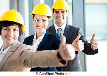 directeur, bouwsector, groep, op, duimen