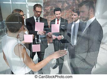 directeur, business, spectacles, équipe, notes