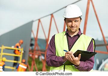 directeur, constructeur, ouvrier construction, site