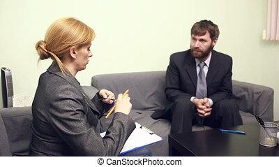 directeur, conversation, chef, femme, employee., rapport