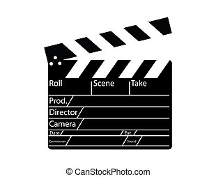directeur, film, blanc, clapperboard, fond