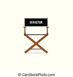 directeur, film, chaise, illustration