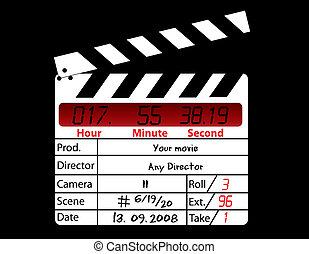 directeur, film, noir, clapperboard, fond
