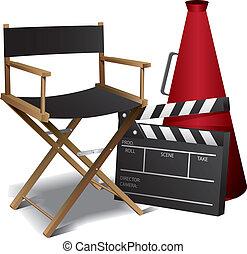 directeur, film, stoel