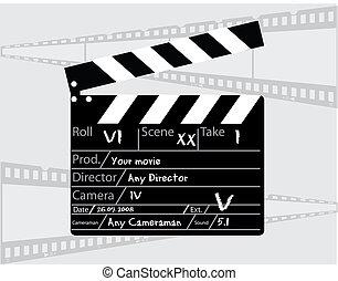directeur, gris, clapperboard, fond, film
