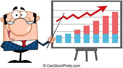 directeur, indicateur, business, heureux