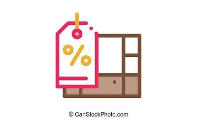directeur, magasin, animation, icône, meubles