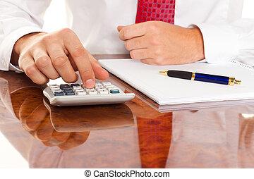 directeur, met, een, calculator., boekhouding, firma's