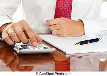 directeur, met, rekenmachine