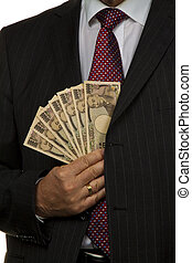 directeur, notes, japonaise, banque, yen
