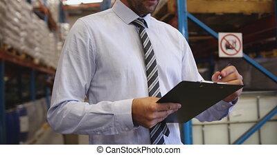 directeur, rapport, mâle, écriture, 4k, entrepôt