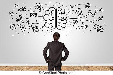 directeur, regarder, mur, surchargé, concept, cerveau