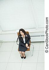 directeur, smartphone, chaise, spacieux, séance, bureau, réussi