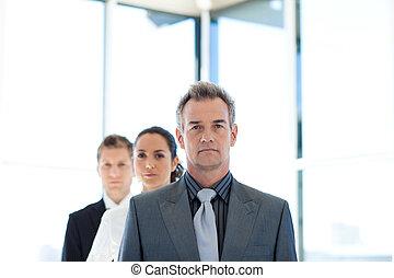 directeur, toonaangevend, een, handel team