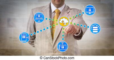 directeur, transférer, données, via, réseau informatique