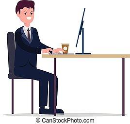 directeur, werkende , zakelijk, zakenman, jonge, achtergrond, vrijstaand, computer, bureau, vector, kilte, spotprent, illustration., werken, witte