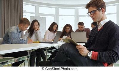 directeurs, bureau, fonctionnement, jeune, créatif, équipe